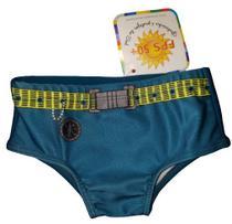 Sunga bebe menino com proteção solar verde com cinto - marca Tip Top -