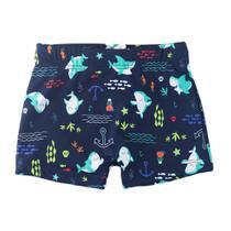 Sunga Infantil - Boxer - Azul Marinho - Tubarões - Minimi -
