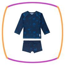 Sunga para bebê 2 peças - Camiseta com proteção e sunga boxer - Tamanho G (6 a 9 meses) - Luc Boo