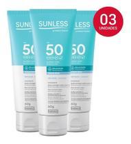 Sunless Protetor Facial fator 50 alta protecao toque seco sem base 60g 03 unidades - Farmax