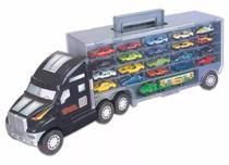 Super Carreta Com 21 Carrinhos De Metal Caminhão Cegonha - Braskit