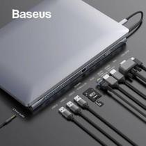 Super HUB Para Macbook Type-C 10 x 1 3 x USB 3.0 HDMI 4k SD/MMC MicroSD/TF Gigabit Rede VGA USB-C PD - Baseus
