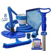 Super Kit - Com Esfregão - 8 M - Universal - Reduz em ate 60% consumo da agua na aspiração - SOS DA PISCINA