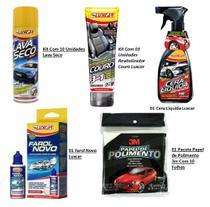 Super Kit de Limpeza Total - 10 Lava Seco + 3 limpa couro + 01 Cera liquida + Pacote + Farol novo - Luxcar