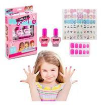 Super Kit De Unhas Infantil Esmalte+Tatuagen+Unhas+Pedrinhas - Polibrinq