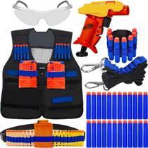 Super Kit Lançador Stinger Nerf + Colete + Óculos + Acessórios + 60 Dardos de Brinquedo -