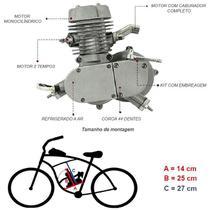 Super Kit Motor Bicicleta Motorizada Gasolina 80CC 2T Completo Prata Importway Barato -