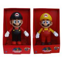 Super Mario preto e Super Mario Amarelo - 2 bonecos grandes - Super Size Figure Collection