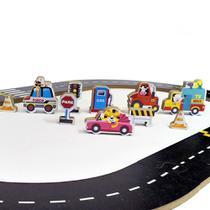 Super Pista de Montar com Carros e Animais - Madeira - com Acessórios - Colorido - OD-PC - Ó Design -