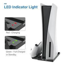 Suporte Base Vertical Compatível com PS5 Playstation 5 Oivo Carregador Controle Duplo Led -