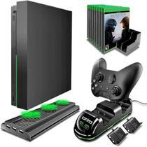 Suporte Base Vertical Xbox One X Cooler Porta Jogos Preto - Oivo