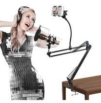 Suporte,Braço Articulado,haste Flexível P/microfone e Smartphone c/aranha e pop - Aj Som Acessórios Musicais