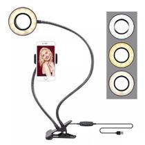 Suporte Celular Com Iluminador Led Ring Light Luminária - Exclusivo