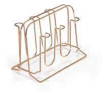 Suporte de Metal Porta 6 Copos Rose Gold Arthi Cobre Cozinha -