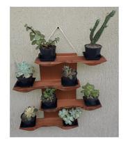 Suporte de Parede para Suculentas ou Mini Cactus Modelo Oceano - Cor Marrom Cacau - Madetop