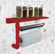 Suporte de Parede Porta Papel Toalhas e Prateleira para Temperos Cozinha Estilo Industrial Vermelho - Formalivre