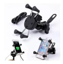 Suporte E Carregador Gps Celular Para Moto Fixa Retrovisor - Tomate -
