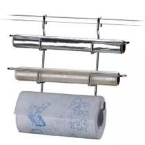 Suporte em Aço Inox para Rolo de Papel Toalha, Alumínio e PVC 2401 Future. Com ganchos para barras. -