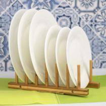 Suporte Escorredor Para 6 Pratos Em Display Bambu Cozinha - Clink
