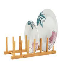 Suporte escorredor porta pratos de bancada em bambu - Utily