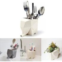 Suporte Escova de Dente Escorredor Porta Talher Banheiro Cozinha Elefante Vaso Planta - Talheres
