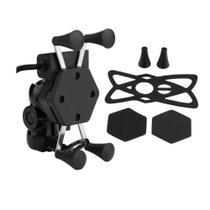 Suporte Garra Para Celular Moto Universal Com Carregador Usb - X Grip -