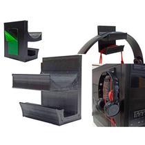 Suporte Headphone Fone Headset Rgb Led Gamer De Ouvido Cpu Gabinete Pc Parede Com Fita Dupla Face - PW3D