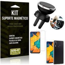Suporte Magnético Galaxy A20 Suporte + Capa Silicone + Película Vidro - Armyshield -