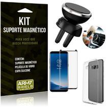 Suporte Magnético Galaxy S8 Suporte + Capa Silicone + Película Vidro - Armyshield -