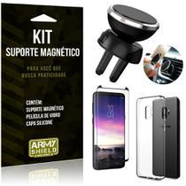 Suporte Magnético Galaxy S9 Suporte + Capa Silicone + Película Vidro - Armyshield -