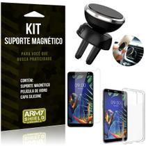 Suporte Magnético LG K12 Plus Suporte + Capa Silicone + Película Vidro - Armyshield -