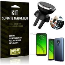 Suporte Magnético Motorola Moto G7 Power Suporte + Capa Silicone + Película Vidro - Armyshield -