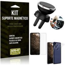 Suporte Magnético Motorola Moto One Vision Suporte + Capa Silicone + Película Vidro - Armyshield -