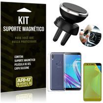 Suporte Magnético Zenfone Max Pro M1 ZB602KL Suporte + Capa Silicone + Película Gel - Armyshield -