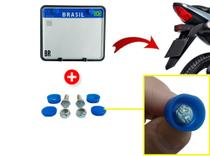 Suporte Moldura Protetor Placa Mercosul de Moto C Lacres e Parafusos - ISJ