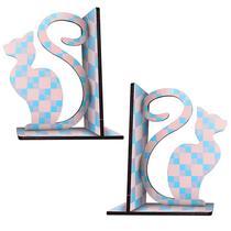 Suporte Organizador Aparador de Livro Gato azul e Rosa - Cia Laser