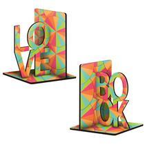 Suporte Organizador Aparador de Livros Love Book Colorido - Cia Laser