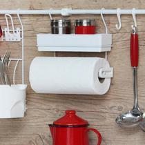Suporte Papel Toalha Branco Porta Temperos Cozinha Pratico Multiuso - Metaltru