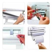 Suporte Papel Toalha Dispenser Cozinha Triple Paper 3 em 1 - kit chen plastic