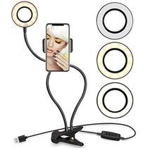 Suporte Para Celular De Mesa Ring Light Para Selfie Com Luminária Led - Pmcell