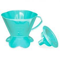Suporte para Filtro de Cafe em Plastico + Funil Tam 103 Azul Turquesa  Injetemp -