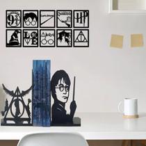 Suporte Para Livros Mesa Harry Potter + Kit 10 Quadros harry potter decorativo parede sala home office nerd geek - Mongartedecor