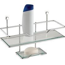 Suporte Para Shampoo Luxo Saboneteira Integrada Vidro Aço - Zanline
