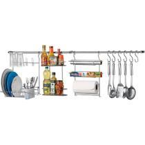 Suporte para Utensílios Cook Home 10 - 10 Peças Aço Cromado com Escorredor - Arthi -