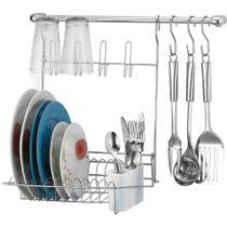 Suporte para Utensílios Cook Home 8 Aço Cromado com Escorredor 6 Peças - Arthi -