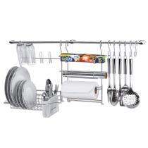 Suporte para Utensílios Cook Home 9 Kit 11 Peças Aço Cromado Escorredor Rolo Gancho Arthi 1409 -