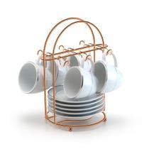 suporte para xicara de cafe capacidade 6 xicara rose gold - Arthi