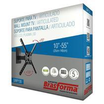 """Suporte Parede Articulado p/ TV LED, LCD, Plasma, 3D e Smart TV 10"""" a 55"""" SBPR 130 - Preto - Brasforma -"""