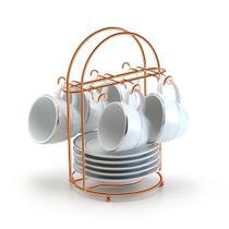 Suporte Porta 6 Xícaras de Café Rose Gold Cobre Arthi -