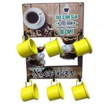 Suporte Porta Copos com 6 Xícaras em Alumínio - Amarela - Retrofenna